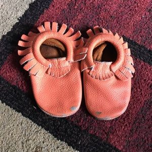 Freshly picked Coral and rose gold moccs size 7